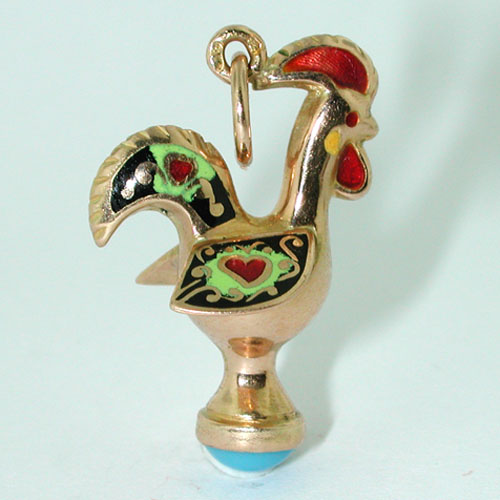 18K Gold Enameled Rooster Turquoise Vintage Charm Pendant - Portugal