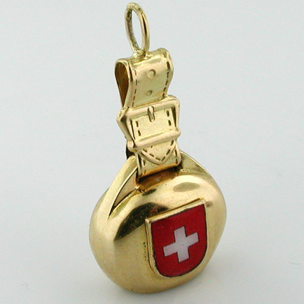 18K Gold Swiss Bell & Strap Vintage Movable Charm
