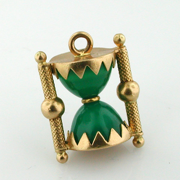 18k Gold Jeweled Hourglass Vintage Charm