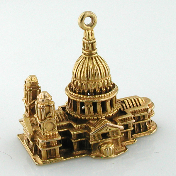 9K Gold St. Paul's Cathedral London 9ct Vintage 3D Charm