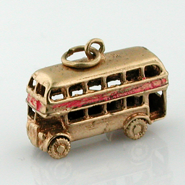 9K Gold Vintage Double Deck Bus 9ct English 3D Charm