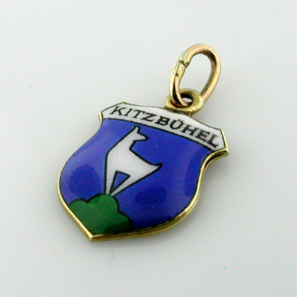14K Gold Vintage Kitzbuhel Austria Enamel Shield Travel Charm