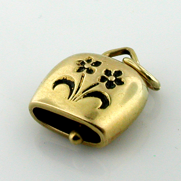 18K Gold Swiss Bell Vintage Movable Charm
