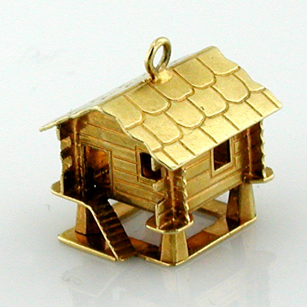 18k gold Swiss Alps Ski Lodge Chalet Log Cabin House Vintage Charm
