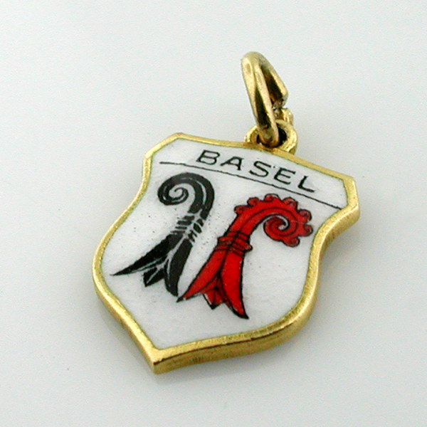 18K Gold Vintage Cantonal Coat of Arms of Basel Enamel Shield Travel Charm