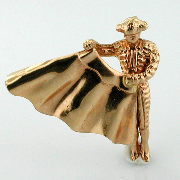 Matador Bullfighter 18K Gold 3D Charm Bull Fighter - Spain