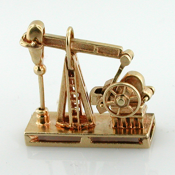 Movable 14k Gold Oil Derrick Rig Vintage Mechanical 3D Charm