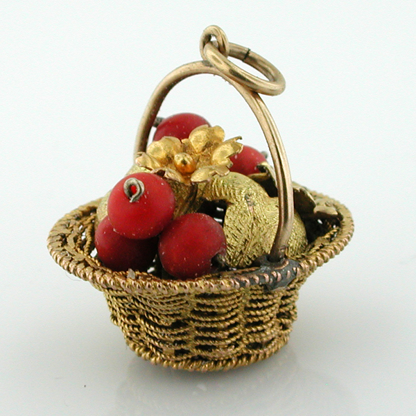 10K Gold Hand Woven Basket with Coral Bead Currants and Flowers Vintage Charm