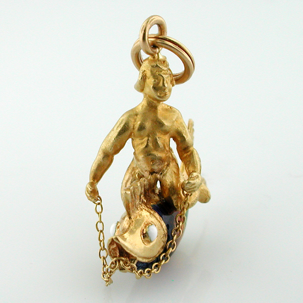 18K Gold Boy Riding Fish Enameled UNOAERRE Vintage Charm Pendant