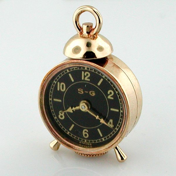 14K Gold Antique Vintage S-G Swiss Watch Co Miniature Alarm Clock Pendant Charm