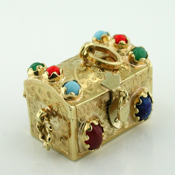 14K Gold Jeweled Treasure Chest Vintage Charm