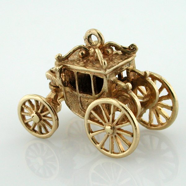 14K Gold Royal Carriage Coach Movable Articulated Vintage Charm