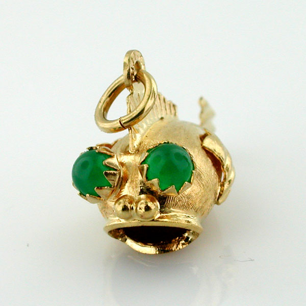 18K Gold Jeweled Jade Eyes Blow Fish 3D Vintage Charm