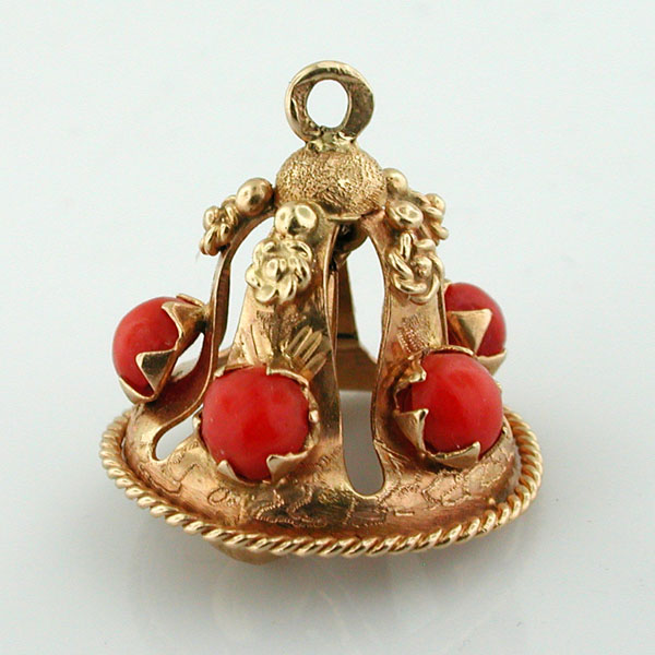 14K Gold Jeweled Bell Movable Vintage charm