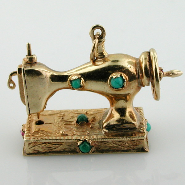 14K Gold Jeweled Sewing Machine Mechanical 