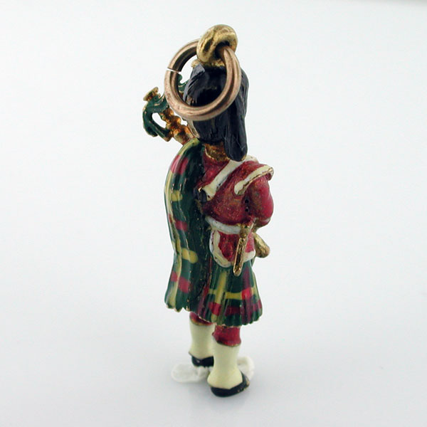 Vintage 9K Gold Enamel Scottish Bagpiper Bagpipe Enameled 9ct English Charm