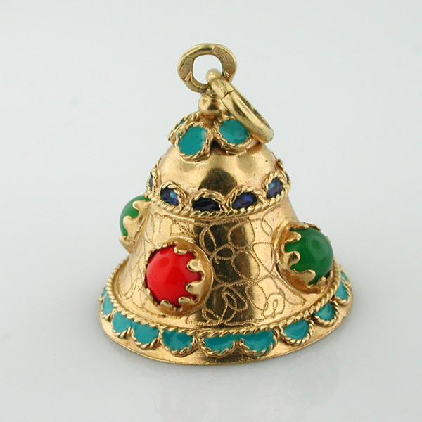 18K Gold Enameled Jeweled Bell Movable Vintage Charm