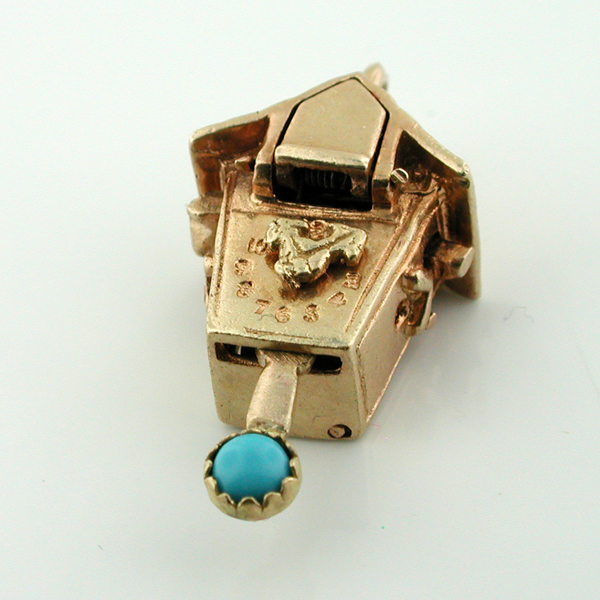 14K gold Coo Coo Cuckoo Clock Vintage Movable 3D Jeweled Charm