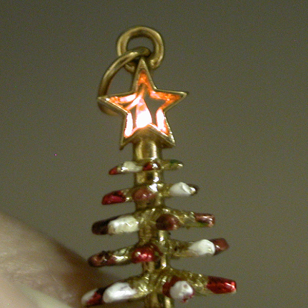 14k Gold Litacharm Enameled Christmas Tree Vintage Charm