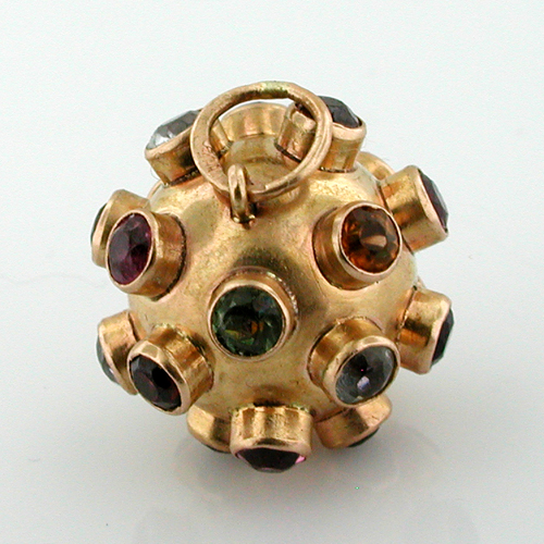 Jeweled Ball Sputnik 18k Gold Vintage 3D Charm Pendant