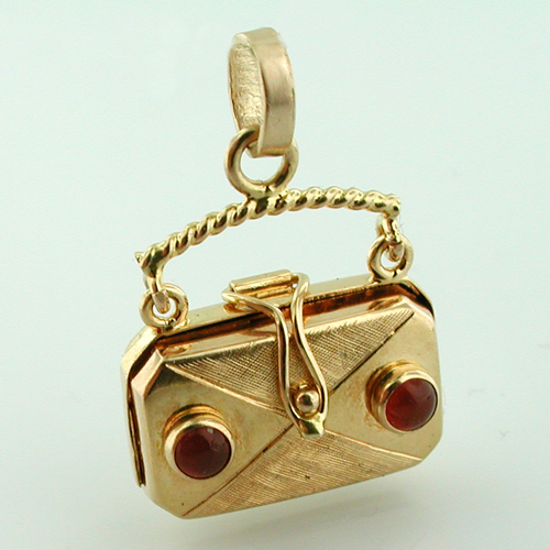 Jeweled 18k Gold Purse Locket Handbag Vintage Charm Pendant