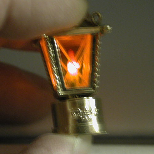 14K Gold Lantern with Working Candle Light Vintage 3D Charm