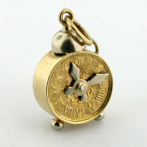 18K Gold Single Bell Alarm Clock Movable Hands Vintage Charm Pendant