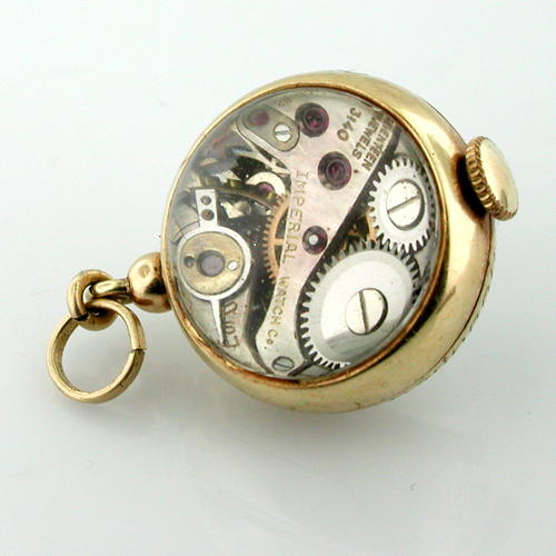 Antique Vintage 14K Gold Imperial Wind up Swiss Watch 17 Jewels Ball Charm