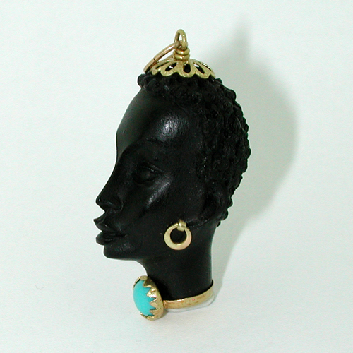 Corletto Blackamoor Turquoise Vintage 18K Gold Charm Pendant