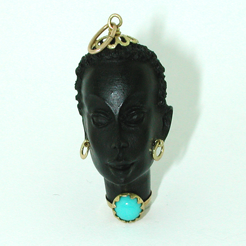 18K Gold Corletto Blackamoor Turquoise Vintage Charm Pendant