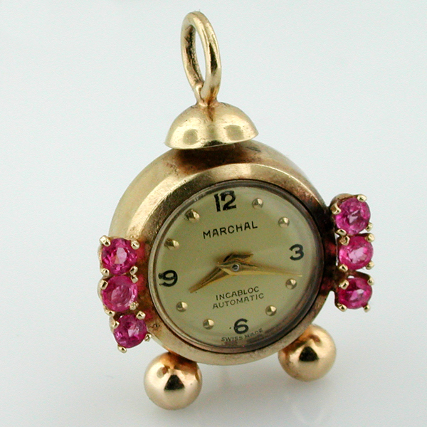 14K Gold Jeweled Marchal Automatic Swiss Watch Alarm Clock Vintage Charm Pendant